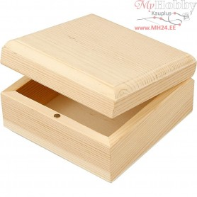 Jewellery Box, size 9x9x5 cm, inner size 7,5x7,5x3 cm, empress wood, 8pcs