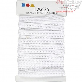Crochet Lace Border , W: 10 mm, white, 10m