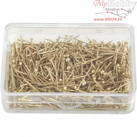 Straight Pins, L: 16 mm, thickness 0,65 mm, gold, 25g