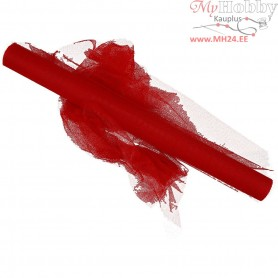 Tulle, W: 50 cm, red, 5m