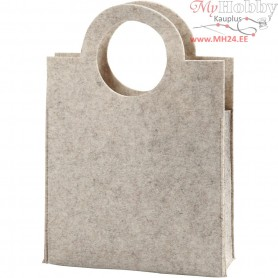 Tote Bag, size 28x40x9,5 cm, thickness 3 mm, off-white, 1pc