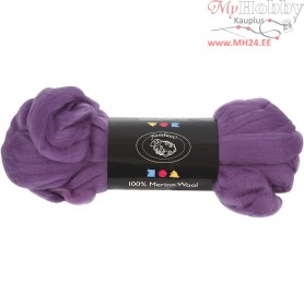 Merino Wool,  21 micron, violet, South Africa, 100g