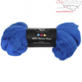 Merino Wool,  21 micron, cobalt blue, South Africa, 100g