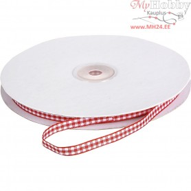 Checked Ribbon, W: 6 mm, red/white, 5m