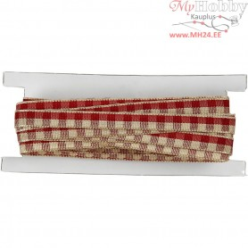 Checked Ribbon, W: 6 mm, antique red/cream, 5m