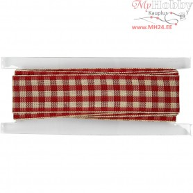 Checked Ribbon, W: 20 mm, antique red/white, 2m