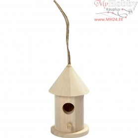 Bird House, H: 8 cm, D: 4,5  cm, poplar wood, 1pc