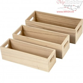 Wooden Storage Boxes, L: 22+23,5+25 cm, W: 6,5+7,5+8,5 cm, empress wood, 3pcs, H: 6,5-7,5 cm