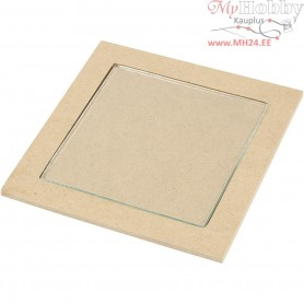 Trivet with Glass Plate, outer size 15x15x0,5 cm, inner size 11x11x0,55 cm, 6pcs