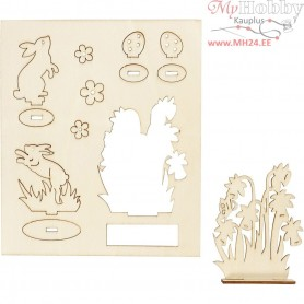 Self-Assemble Wooden Figures, hares and flowers, L: 20 cm, W: 17 cm, plywood, 1pack, thickness 3 mm