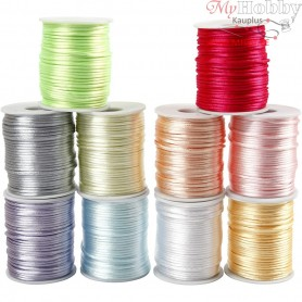 Satin Cord Assortment, thickness 2 mm, pastel colours, 10x50m
