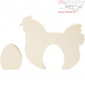 Chicken with Egg, chicken and egg, H: 7,5+16 cm, W: 6,3+19,5 cm, plywood, 1set, thickness 2 cm