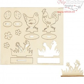 Self-assembly Figures, hens and flowers, L: 15,5 cm, W: 17 cm, plywood, 1pack, thickness 3 mm