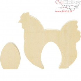Wooden Hen with Egg, hen with egg, H: 4,5+10 cm, W: 3,5+10,5 cm, plywood, 1set, depth 1,2 cm