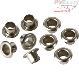Eyelets, D: 7,5 mm, H: 4,5 mm, silver, 100pcs, hole size 4 mm