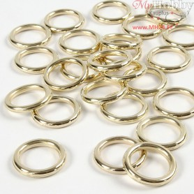 Plastic Ring, outer size 15 mm, inner size 11 mm, gold, 25pcs, thickness 2 mm