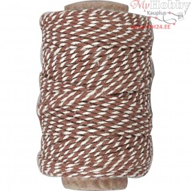 Cotton Cord, thickness 1,1 mm, brown/white, 50m