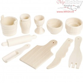 Kitchen Tools, L: 40-60 mm, birch, 10pcs