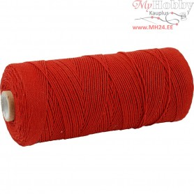 Cotton Twine, L: 315 m, thickness 1 mm, red, Thin quality 12/12, 220g