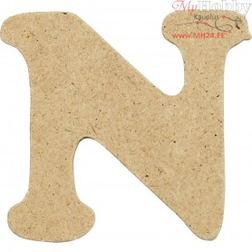 Letter, N, H: 4 cm, thickness 2,5 mm, MDF, 10pcs