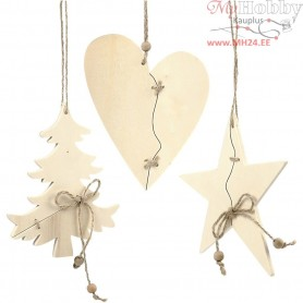 Christmas Ornaments, size 13x15 cm, 6pcs