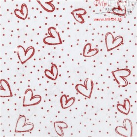 Craft Felt, A4 21x30 cm, thickness 1 mm, white, red glitter hearts and dots, 10sheets