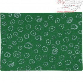 Craft Felt, A4 21x30 cm, thickness 1 mm, green, blue glitter circles, 10sheets