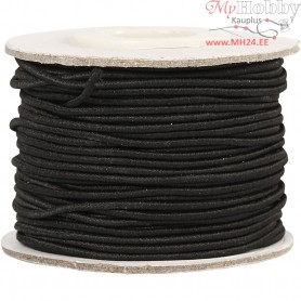Elastic Beading Cord, thickness 1 mm, black, 25m