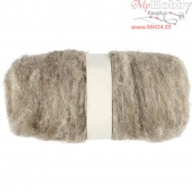 Carded Wool, natural, 100g