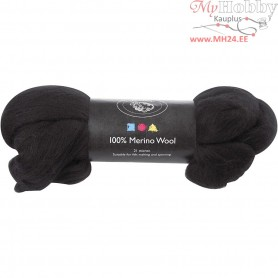 Merino Wool,  21 micron, black, South Africa, 100g
