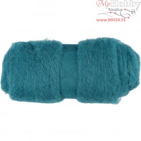 Carded Wool, emerald green, 100g