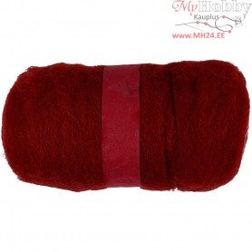 Carded Wool, warm red, 100g
