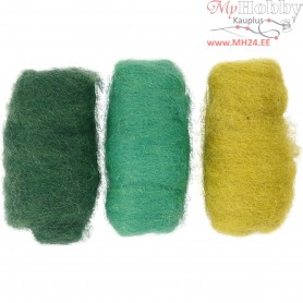 Carded Wool, green/turquoise harmony, 3x10g