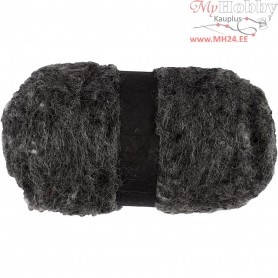 Carded Wool, natural grey, 100g