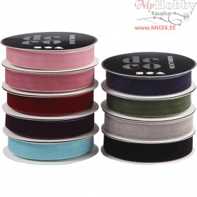 Velvet Ribbon, W: 15 mm, asstd colours, 9x4m