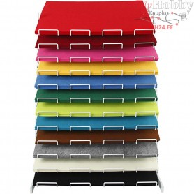 Craft Felt, sheet 42x60 cm, thickness 3 mm, Including display, 12x10sheets