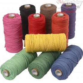 Cotton Twine, L: 100 m, thickness 2 mm, bold colours, Thick quality 12/36, 10x225g