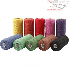 Cotton Twine, L: 315 m, thickness 1 mm, bold colours, Thin quality 12/12, 10x220g