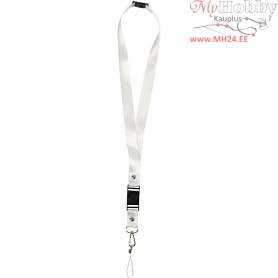 Key Strap, L: 53 cm, W: 2 cm, white, 5pcs
