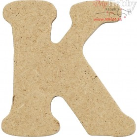 Letter, K, H: 4 cm, thickness 2,5 mm, MDF, 10pcs