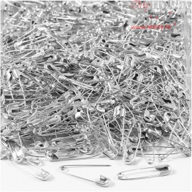 Safety Pins, L: 22 mm, thickness 0,6 mm, silver, 500pcs