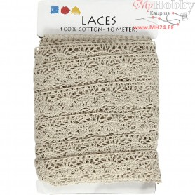 Crochet Lace Border , W: 30 mm, natural, 10m