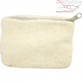 Purse, size 10x13 cm, off-white, 1pc