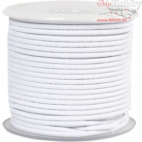 Elastic Beading Cord, thickness 2 mm, white, 25m