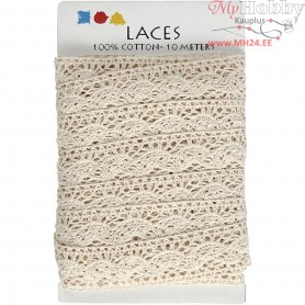 Crochet Lace Border , W: 30 mm, off-white, 10m
