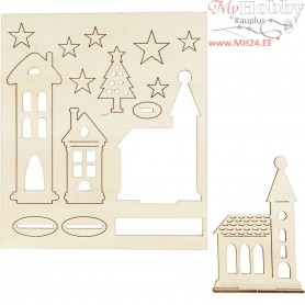 Self-assembly Figures, christmas city, L: 20 cm, W: 17,5 cm, plywood, 1pack, thickness 3 mm