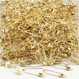 Safety Pins, L: 22 mm, thickness 0,6 mm, gold, 500pcs