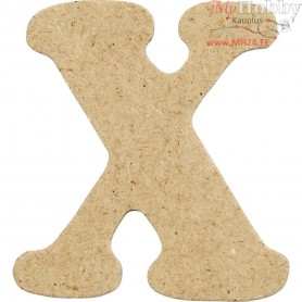 Letter, X, H: 4 cm, thickness 2,5 mm, MDF, 10pcs
