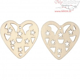 Ornament, heart, D: 45 mm, thickness 3 mm, plywood, 8pcs