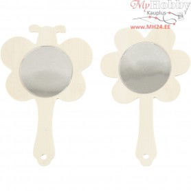 Hand Mirrors, H: 13.9 cm, W: 9 cm, plywood, 2pcs